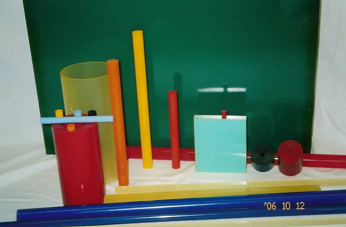 A close view of sheets, tubes, rods, and bars.